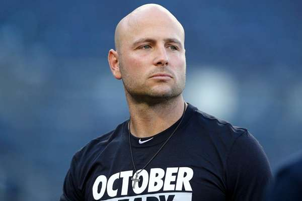 Yankees DH Matt Holliday looks on before the AL