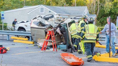 A crash between a car and a pickup