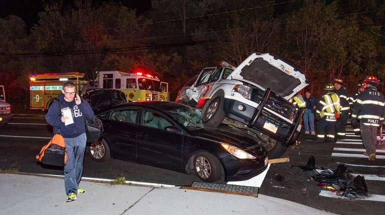 Police and fire officials respond to three-vehicle crash