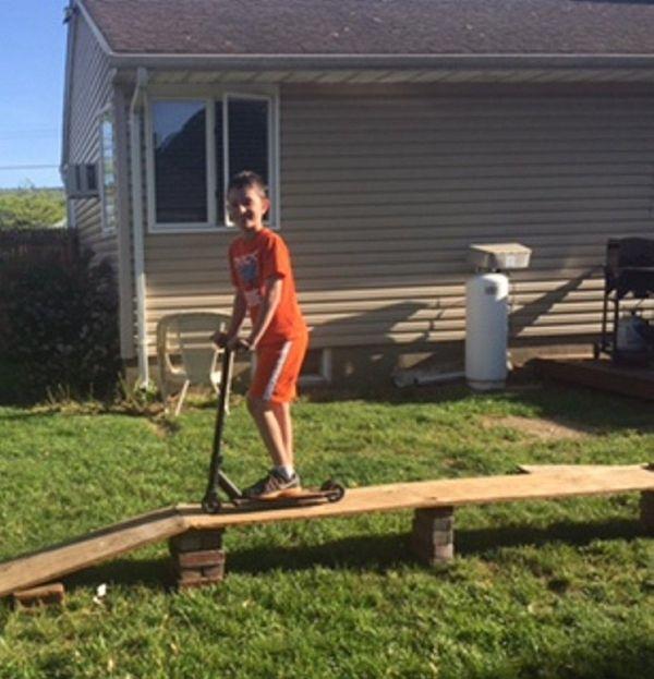 Kidsday reporter Christopher Hauff on a ramp he