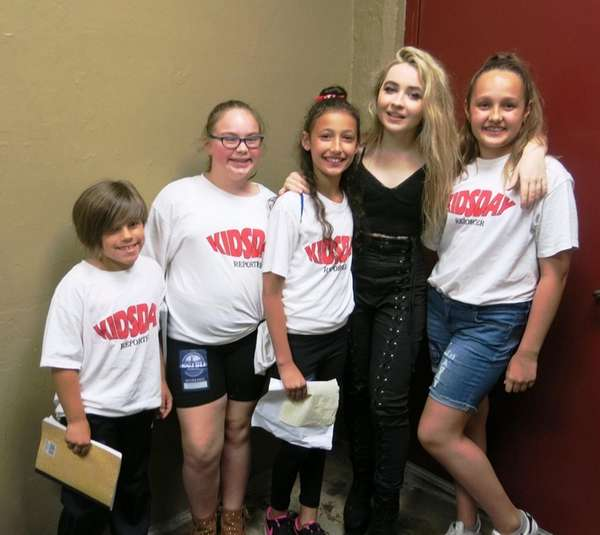 Actress and singer Sabrina Carpenter with Kidsday reporters,