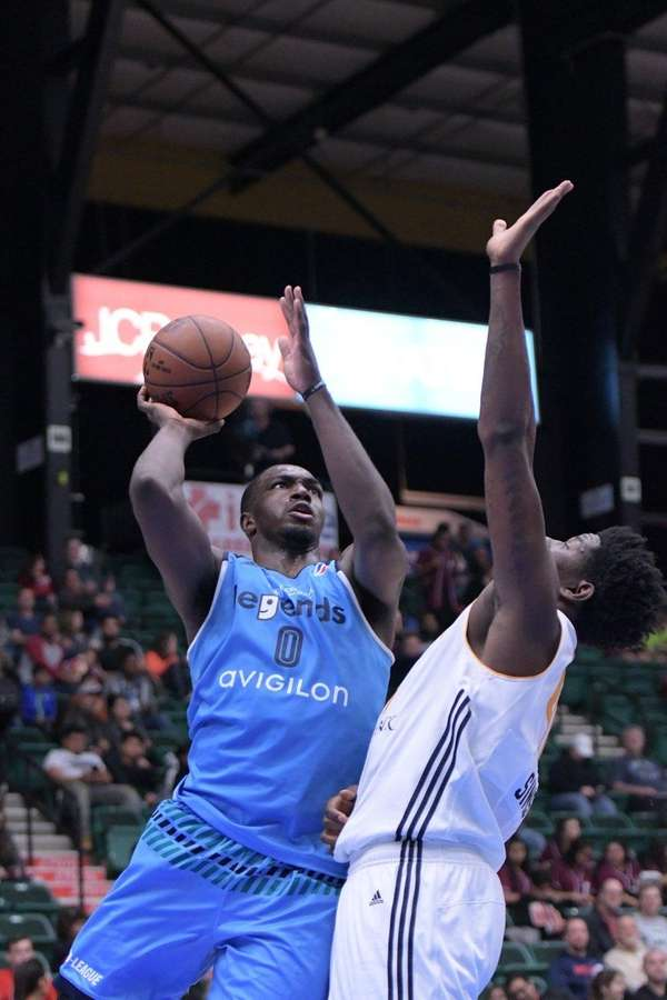 Jameel Warney of the Texas Legends attacks the basket