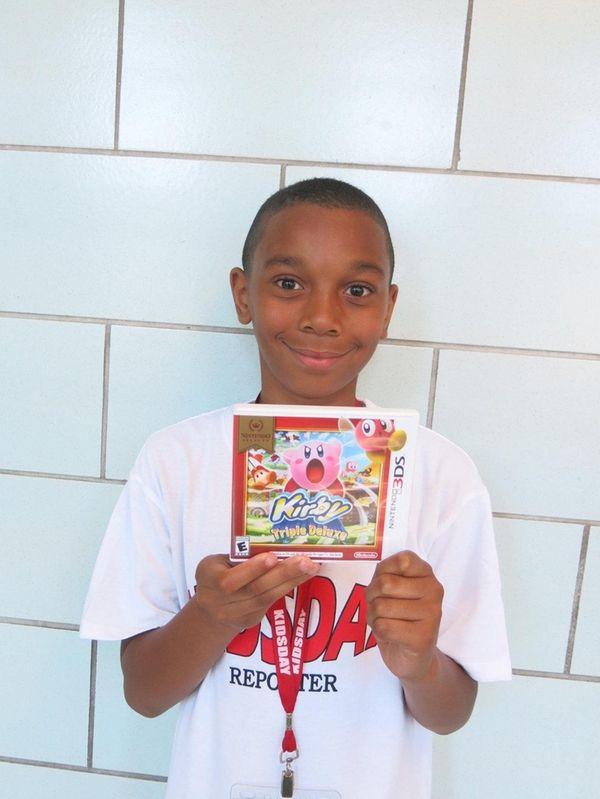 Kidsday reporter Tyler Trotman with Kirby: Triple Deluxe