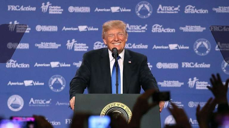 President Donald Trump speaks during the annual Family