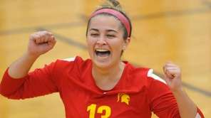 Paige Zimmerly of Sacred Heart reacts after a