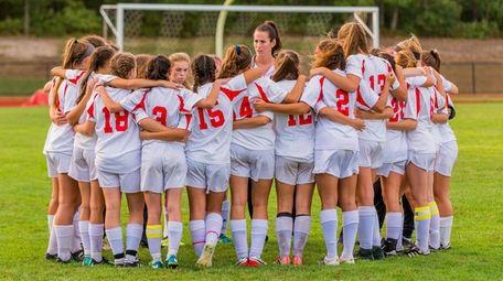 The Center Moriches girls soccer team on Friday,