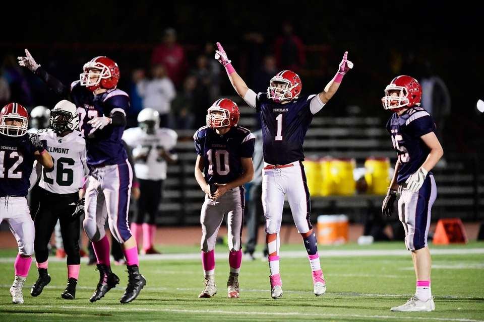 Kyle Acquavella of MacArthur celebrates his game-winning field