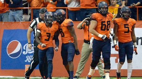 Syracuse wide receiver Ervin Phillips celebrates his touchdown