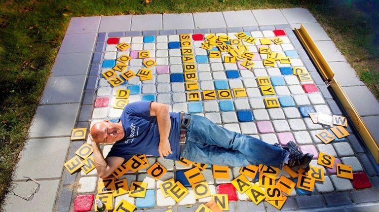 Scrabble superfan Bernie McMahon on the giant Scrabble