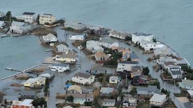 Flooded homes in Westhampton, thanks to the storm