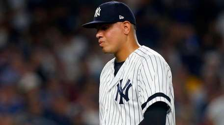 Dellin Betances of the Yankees leaves in the