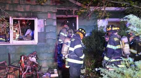 Firefighters at the scene in North Bay Shore