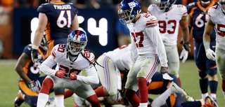 New York Giants cornerback Janoris Jenkins (20) reacts