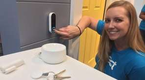 Nest program manager Aubrey Thelen demonstrates the Hello