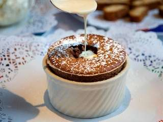 Chocolate soufflé is among the specialties at Stresa
