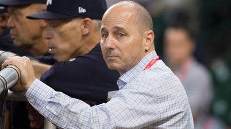 Yankees general manager Brian Cashman during batting practice