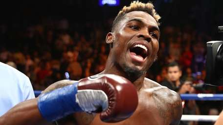 Jermell Charlo celebrates his first-round knockout against Erickson