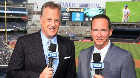 Yankees broadcasters Michael Kay, left, and David Cone