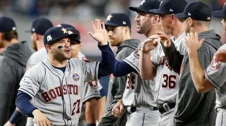 Astros second baseman Jose Altuve is introduced before Game