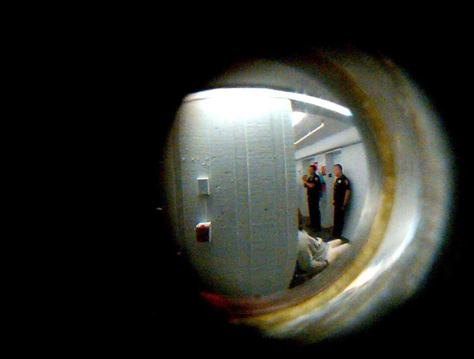 This photo, taken through the peephole of a