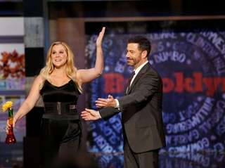 Jimmy Kimmel welcomes Amy Schumer to his Brooklyn