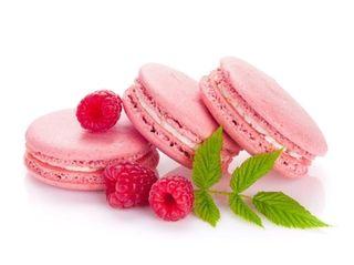 Pink raspberry macaron cookies.