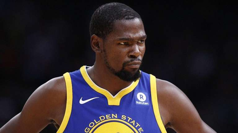 Kevin Durant of the Golden State Warriors looks