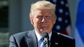 President Donald Trump holds a news conference on