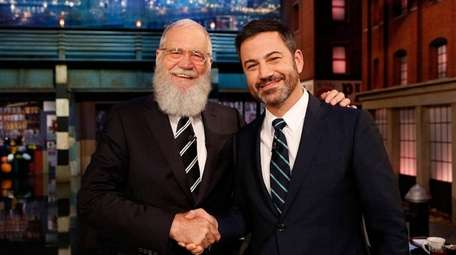 Jimmy Kimmel, right, broadcasting his ABC show from