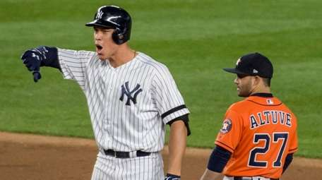 Yankees outfielder Aaron Judge reacts after an RBI