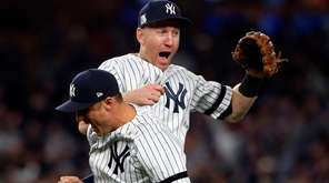 Todd Frazier and Greg Bird of the Yankees celebrate after