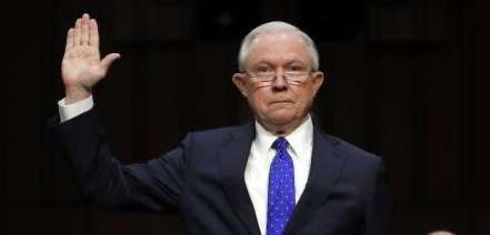 Attorney General Jeff Sessions is sworn in before