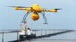 German parcel service DHL's 'Paketkopter' drone delivery service.