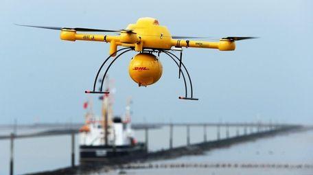 German parcel service DHL's 'Paketkopter' drone delivery service.