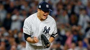 Masahiro Tanaka of the New York Yankees reacts