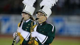 Three Village Patriot Marching Band performs at the