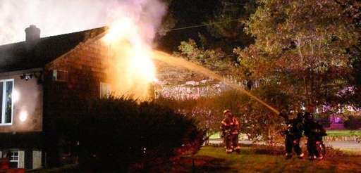 Firefighters battle a blaze at Teed Street and