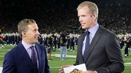 Liam McHugh, left, and Chris Simms broadcast from