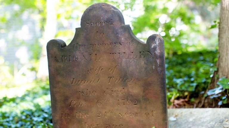 The headstone of Abigail Tilley is clearly readable
