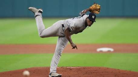 Luis Severino of the Yankees pitches in the