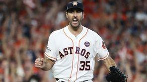 Justin Verlander of the Astros celebrates after striking