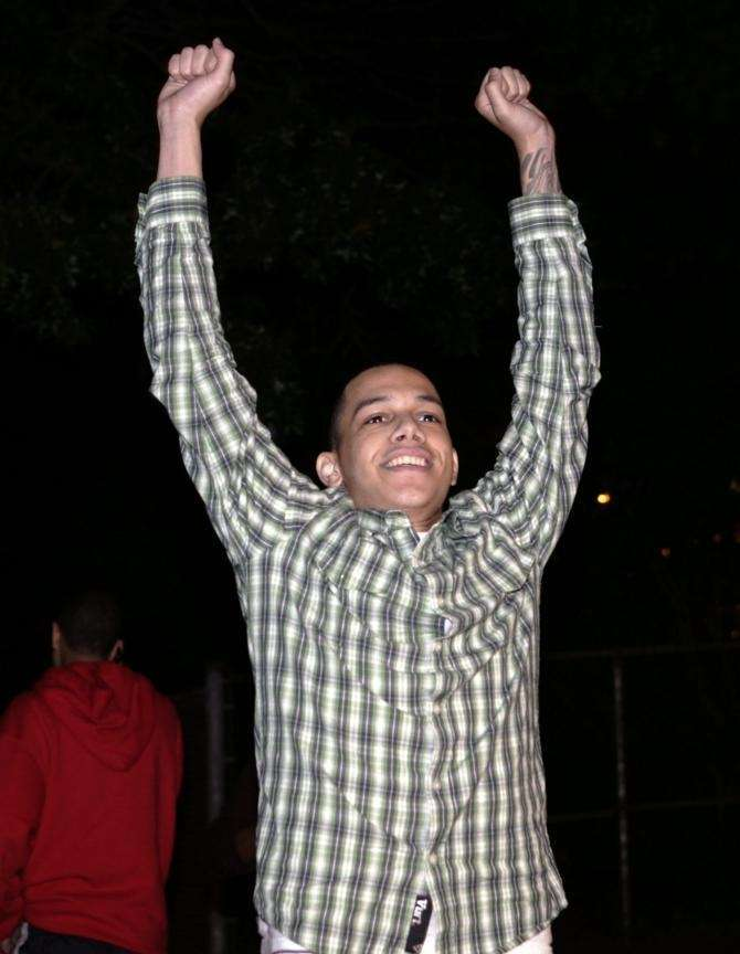 Kevin Tavaras celebrates being cleared of all charges