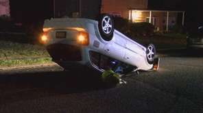 A car overturned on Peach Street in Brentwood