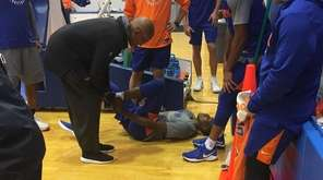 Knicks rookie Frank Ntilikina hurt his ankle at