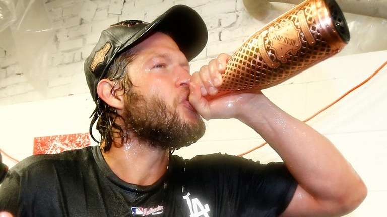 Clayton Kershaw of the Los Angeles Dodgers celebrates