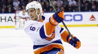 Ryan Pulockof the New York Islanders takes the