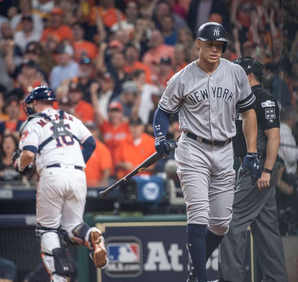 New York Yankees outfielder Aaron Judge reacts after