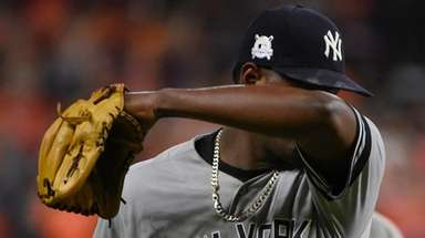 Yankees starting pitcher Luis Severino leaves the game