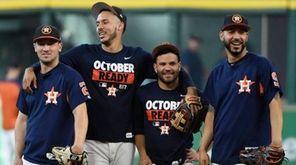The Astros' Alex Bregman, Jose Altuve, Carlos Correa