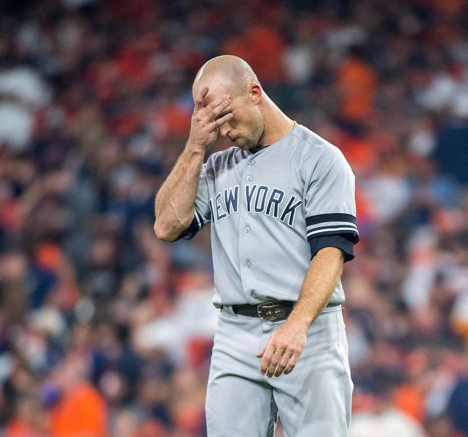 New York Yankees outfielder Brett Gardner reacts after